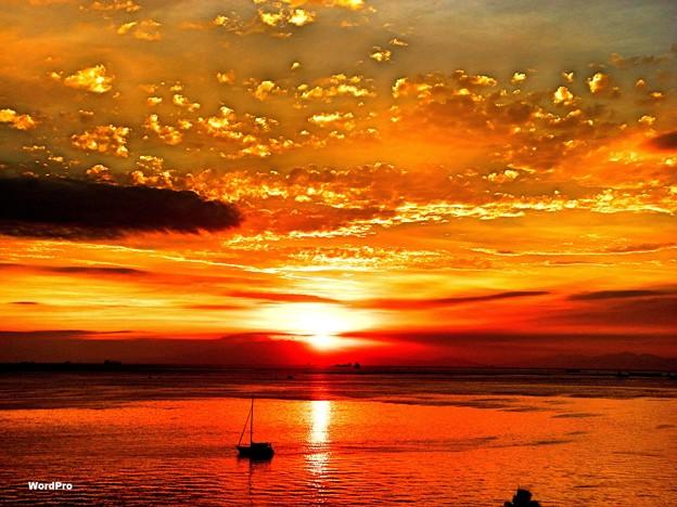 マニラ湾今日の夕陽