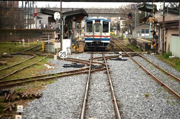 終点水海道駅進入
