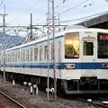 Photos: 夕陽映す東武8000系東小泉行き 夕刻の赤城駅にて