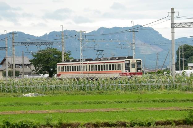 古賀志山を背に行く東武6050系