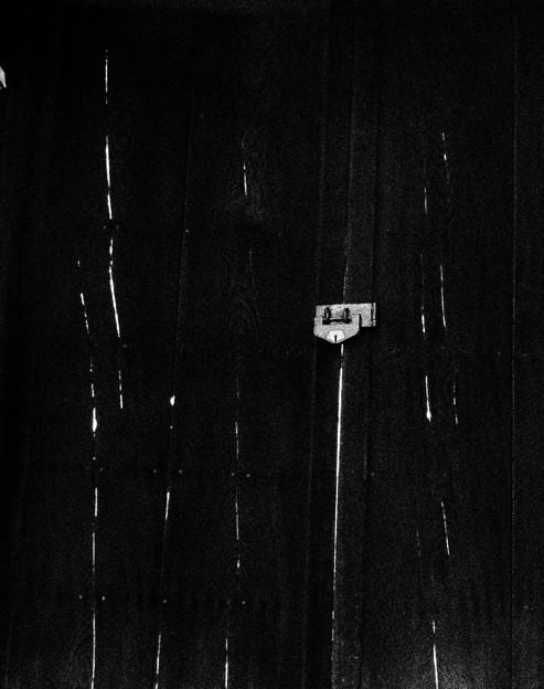 写真: 門と木目の光