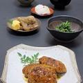 写真: 今晩は、鶏つくねの照り焼き、ほうれん草の胡麻和え、煮しめ、玉子焼き、菊花かぶら、根菜味噌汁合わせ味噌酒粕、ご飯