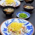 Photos: 今晩は、焼き鯖寿司、生子とろろ加減酢ミカン柚子、茎わかめ、そば米汁