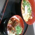 写真: 静トヨ リニューアル壺屋のミニ丼セット 550円也。( そばとミニみそカツ...