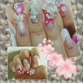 写真: 桜3Dネイル