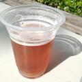 Photos: 九州地ビールフェアお次はピーチIPA♪これもいい香りー。日射し熱々だから、ほろ苦ビールもグレープフルーツジュースのようだわ。