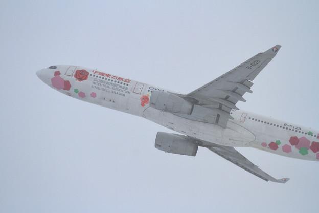 A330 東方航空 B-6129 takeoff時は雪