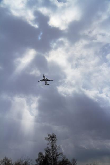 B737 雲に遮られた空