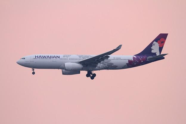 A330 HAL N361HA なかくれないに染まる空の中