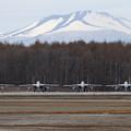 写真: F-15 201sqと樽前山(1)
