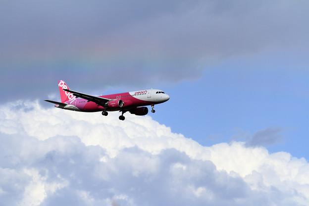 A320 Peach なんか虹が