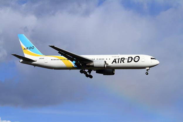 B767 AIR DO なんか虹が