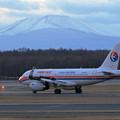 A319 CES B-6456と樽前山