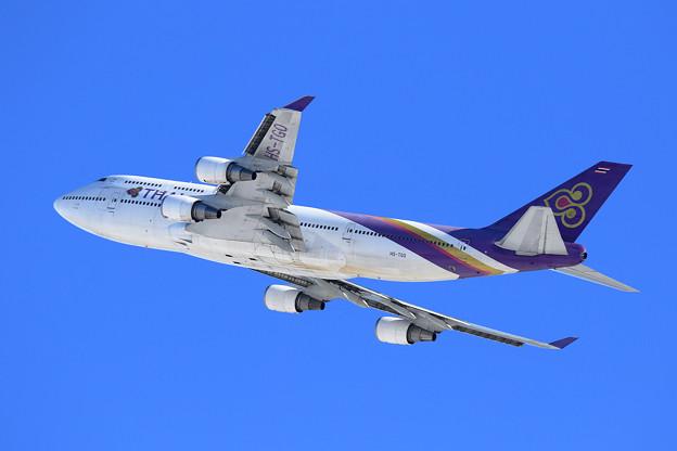 雪レフ B747 THA HA-TGO takeoff