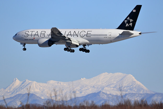 B777 AAR Star Alliance HL7732と夕張岳