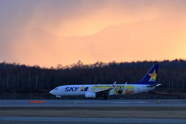 B737 SKY Tigers Jet 3rd JA73NR 夕やけ雲