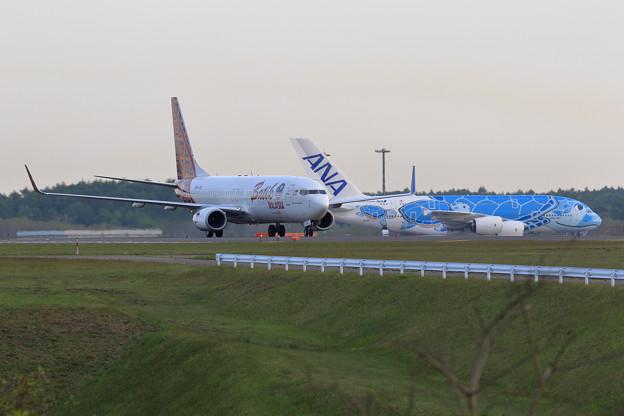 Photos: Boeing737 Batik MALAYSIAとA380 ANA FLYING HONU