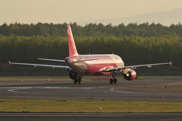 A320 Peach 夕陽に照らさて