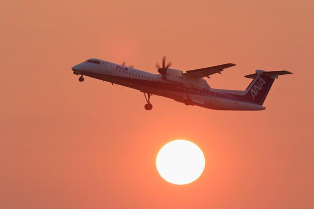 Q400と夕陽