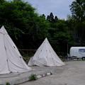 写真: 対岸のテント村