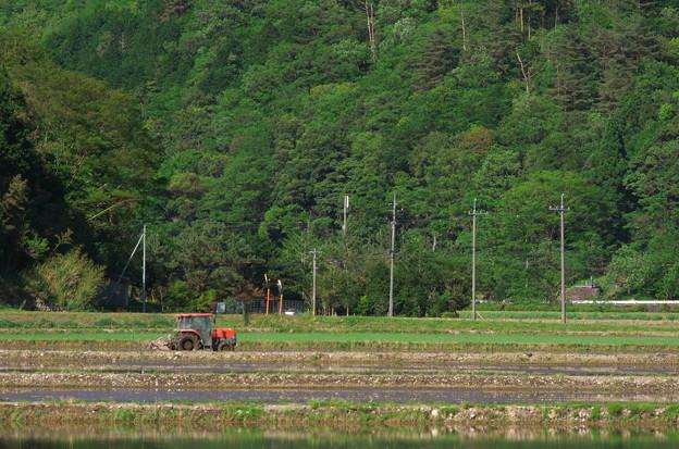 写真: 赤いトラクター
