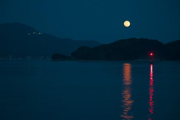 赤い月、赤い灯標