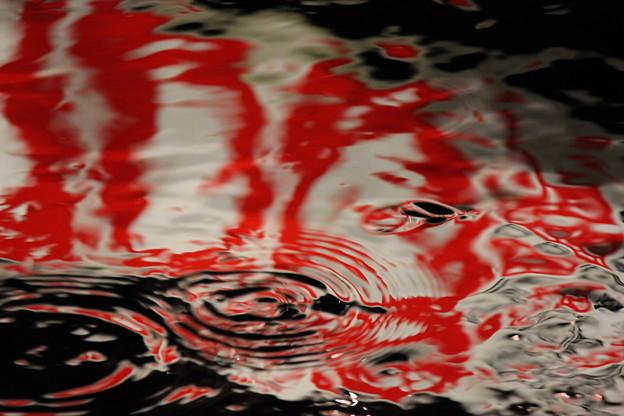水面に映る看板