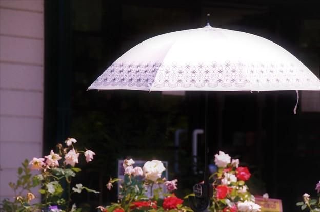日傘さしかけて