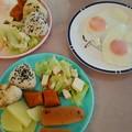三人で朝昼ごはん #朝食 #姪っ子 #甥っ子