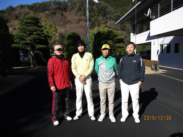 足利城ゴルフ倶楽部で打ち納めゴルフをしたクドちゃん・幹事・親さん・藤さん2015.12.30