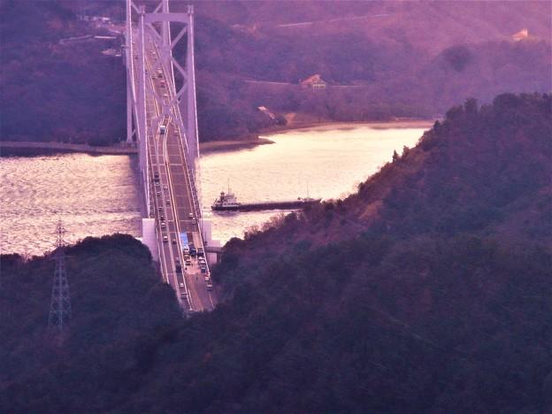 写真: 因島大橋工事中@立春過ぎの布刈瀬戸@寒風のしまなみ海道