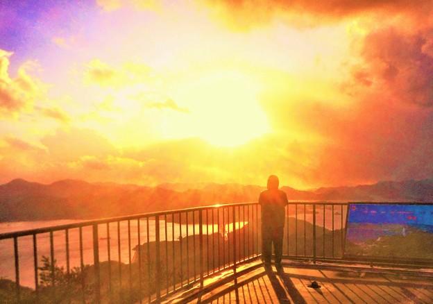 しまなみ海道の夕陽@高見山山頂@因島大橋・布刈の瀬戸
