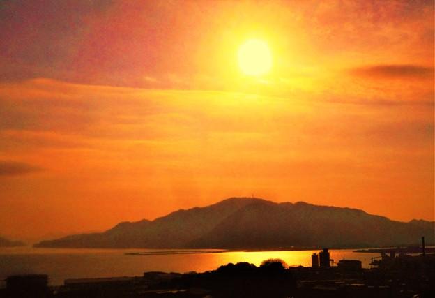 筆影山の夕暮れ@糸崎の丘
