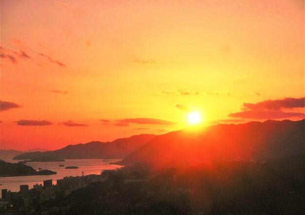 写真: 浄土寺山の夕陽@山頂展望台