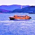 遠く しまなみ海道・因島大橋が観える@弾丸高速艇@瀬戸田-因島土生-尾道港