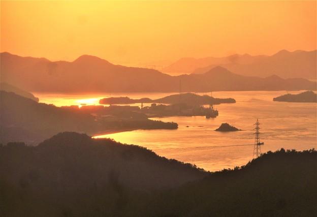 光る海@布刈の瀬戸・四十島の夕暮れ@高見山展望台
