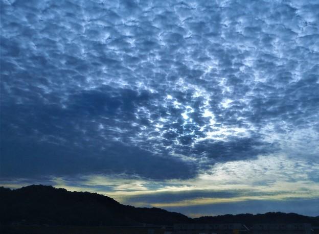 ばら祭の日の夕空に現れたウロコ雲@芦田川東岸(臨時駐車場)