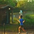 写真: 朝日に向かって 早朝ランニング@タイムトライアル@公園一周2分30秒