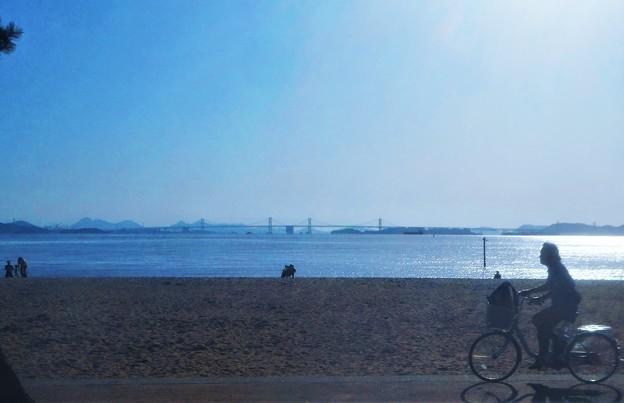 瀬戸大橋の見える 渋川海岸@瀬戸内海