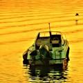 写真: 夕暮れの海とアオサギ@新浜港沖合