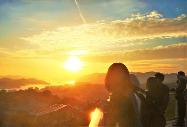 晩秋の千光寺山の夕陽@展望台