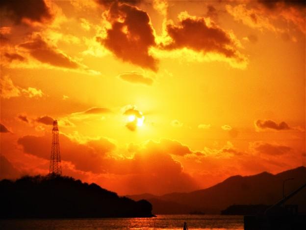 赤石の鼻の夕陽@瀬戸内海