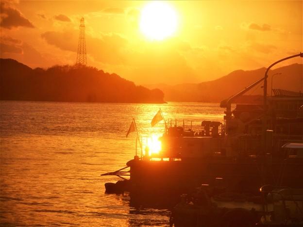 海保前の夕陽@瀬戸内海・古浜町