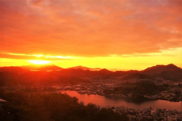 初日の出と瀬戸の海@千光寺山展望台'19.01.01