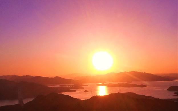 しまなみ海道の夕陽@因島大橋@高見山展望台
