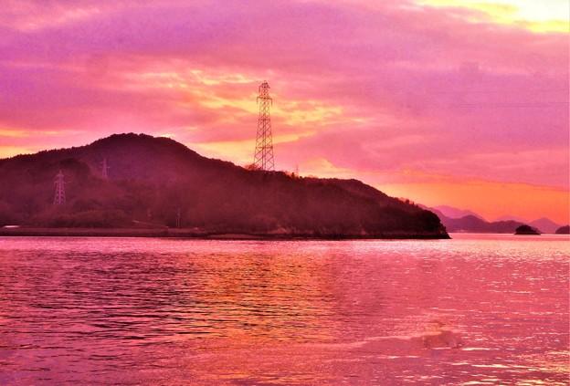 早春の瀬戸内海の夕暮れ@赤石の鼻付近