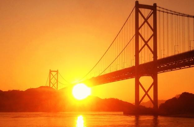 因島大橋・布刈の瀬戸の夕陽@早春のしまなみ海道