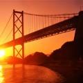 早春のしまなみ海道の夕陽@因島大橋・布刈の瀬戸