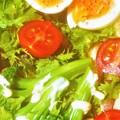 Photos: 健康野菜レタス・ブロッコリ・トマト・バナナ・半熟タマゴなど@朝の野菜サラダ