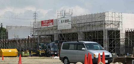 fF1マート鈴鹿インター店 夏に向け 外観鉄骨組み立て完了で工事中-200426-1